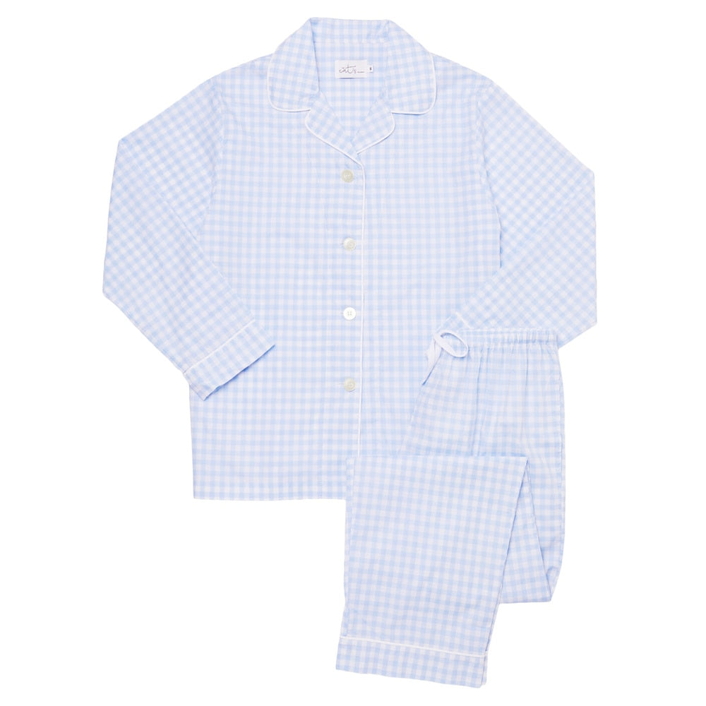 The Cat's Pajamas Blue Gingham Luxe Pima Cotton Pajama