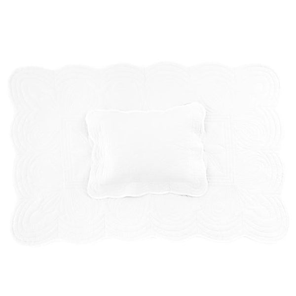 Bonne Mere Scallop Edge Cot Quilt & Pillow Set White