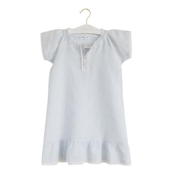 Bonne Mere Linen Bow Embroidery Raglan Dress Azure Mist