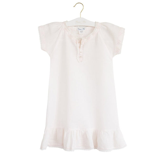Bonne Mere Linen Bow Embroidery Raglan Dress Shell Pink