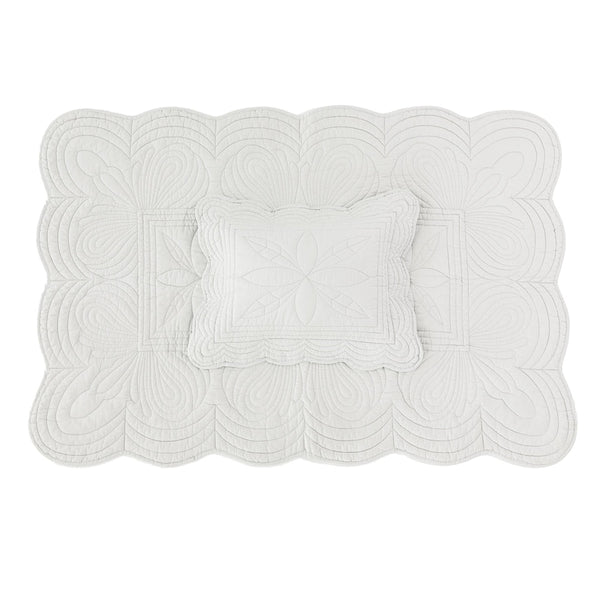 Bonne Mere Scallop Edge Cot Quilt & Pillow Set Mist