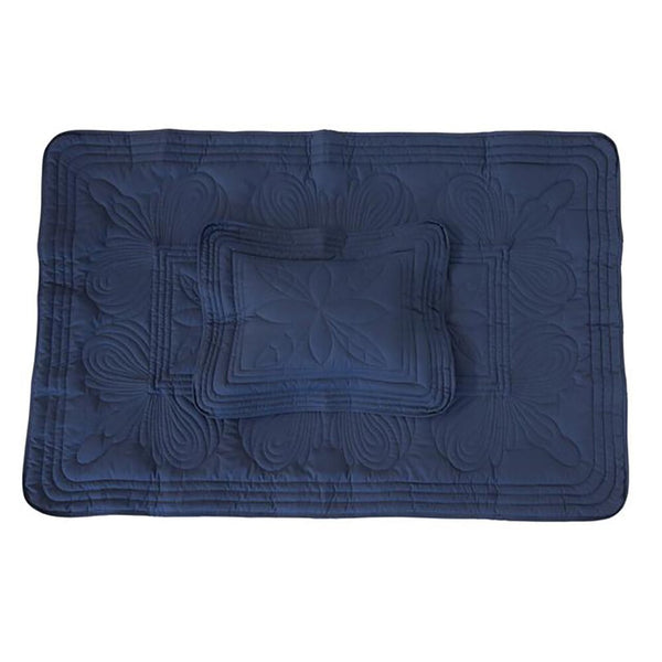 Bonne Mere Straight Edge Cot Quilt & Pillow Set Navy