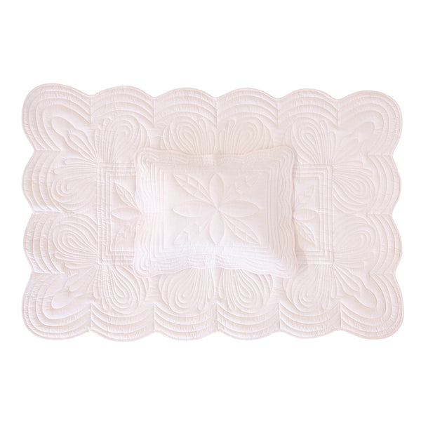 Bonne Mere Scallop Edge Cot Quilt & Pillow Set Powder