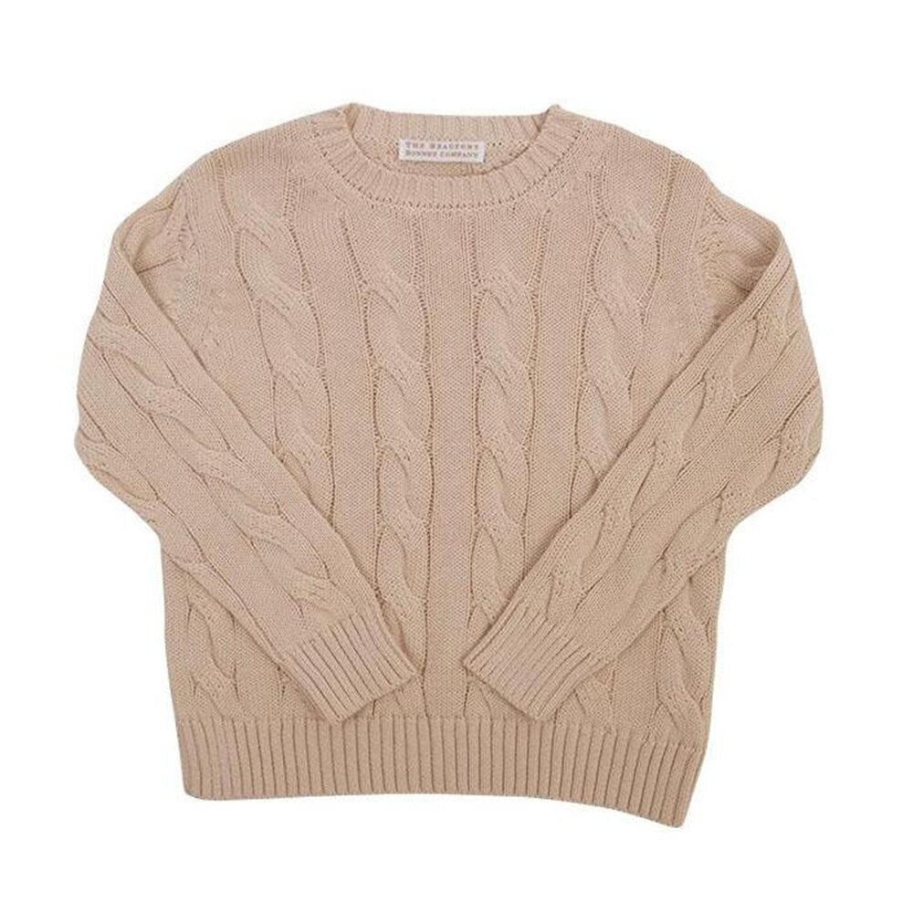 The Beaufort Bonnet Crawford Crewneck, Keeneland Khaki Cable Knit