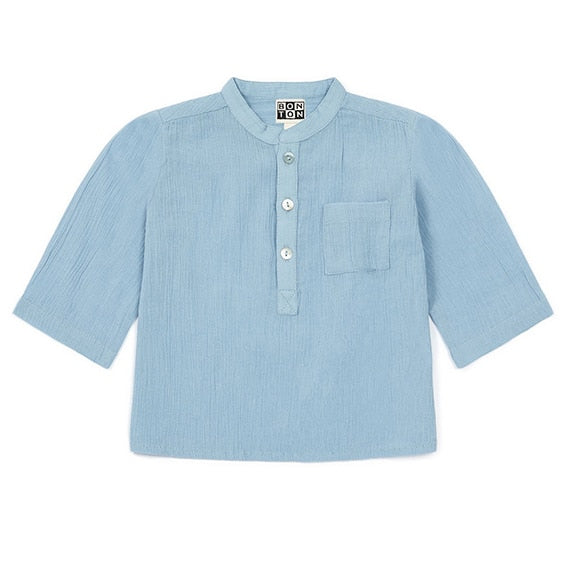 Bonton Baby Crepe Tunic, Light Blue