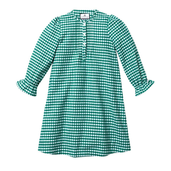 Green Gingham Flannel Beatrice Nightgown