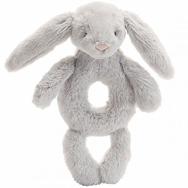 Jellycat Bashful Bunny Ring Rattle in Grey