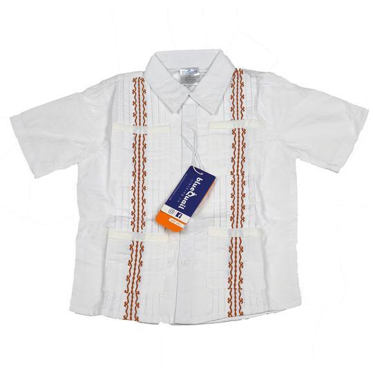 Blue Quail Guayabera White & Burnt Orange Shirt
