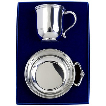 Salisbury Pewter Images Baby Cup and Porringer Gift Set with Personalization