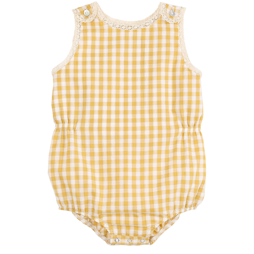 Overall Yellow Gingham Jumpsuit