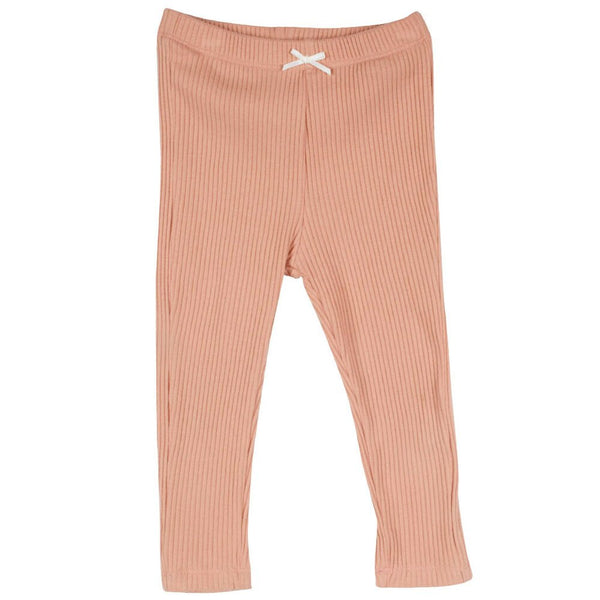 Pink Chicken Rib Leggings, Coral Pink