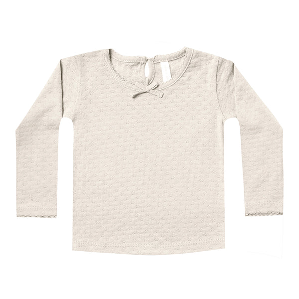 Pointelle Longsleeve Tee Pebble