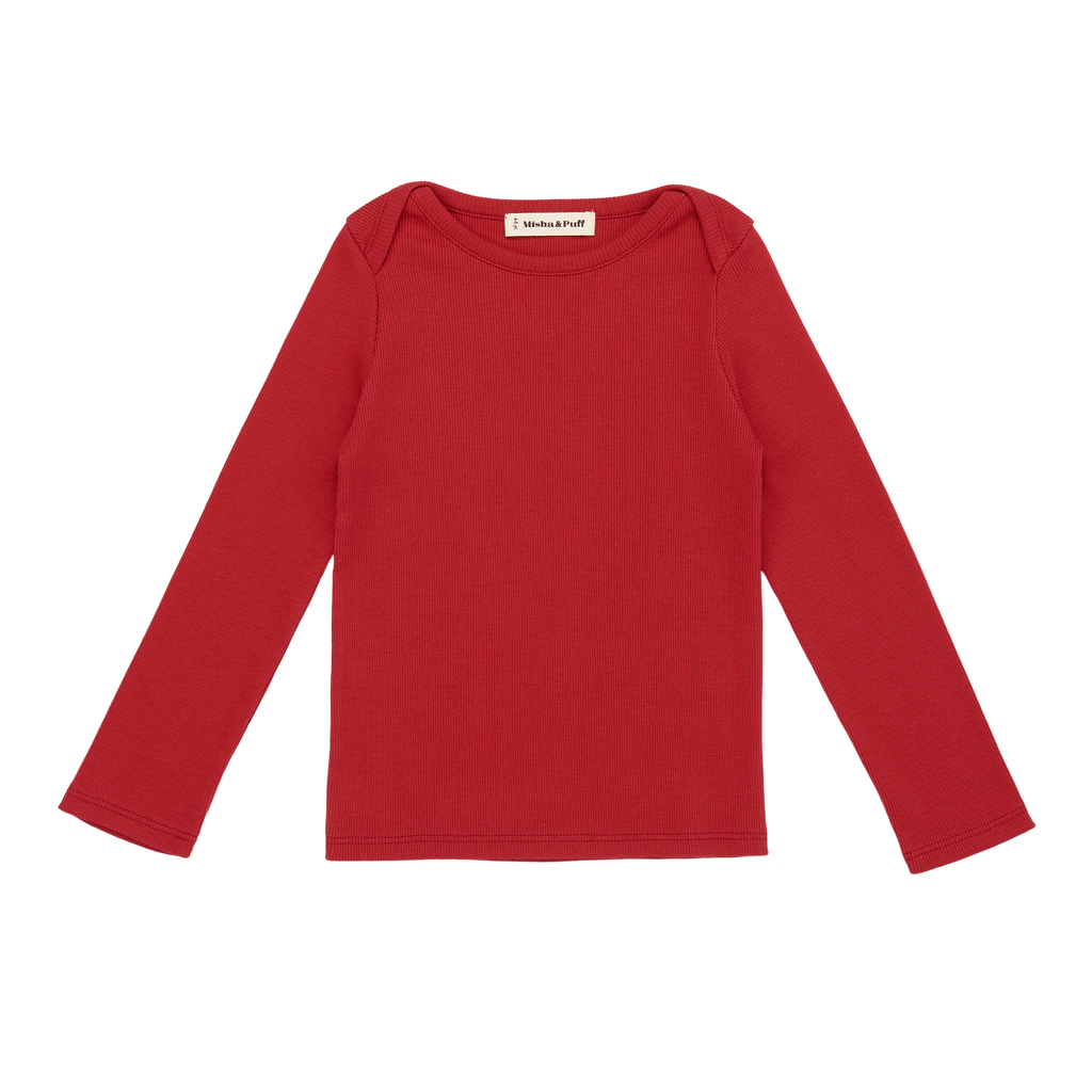 Ribbed Long Sleeve Lap Tee Berry