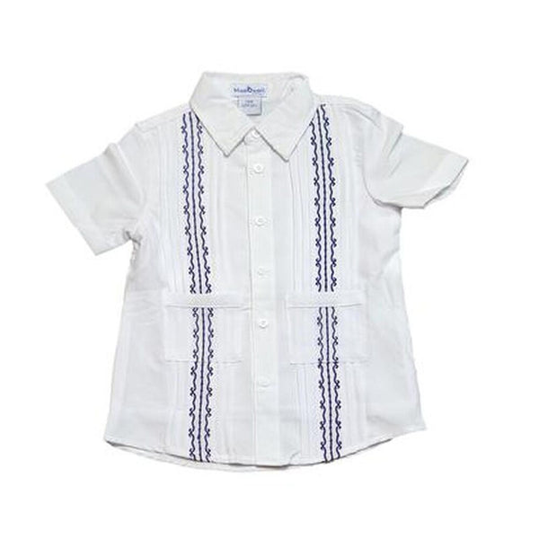 Blue Quail Guayabera White & Navy Shirt
