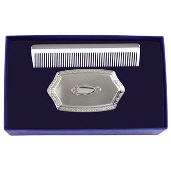 Salisbury Pewter Boy's Embossed Brush and Comb Gift Set
