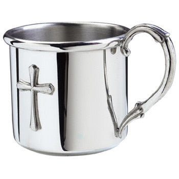 Salisbury Pewter Easton Baby Cup with Cross with Personalization