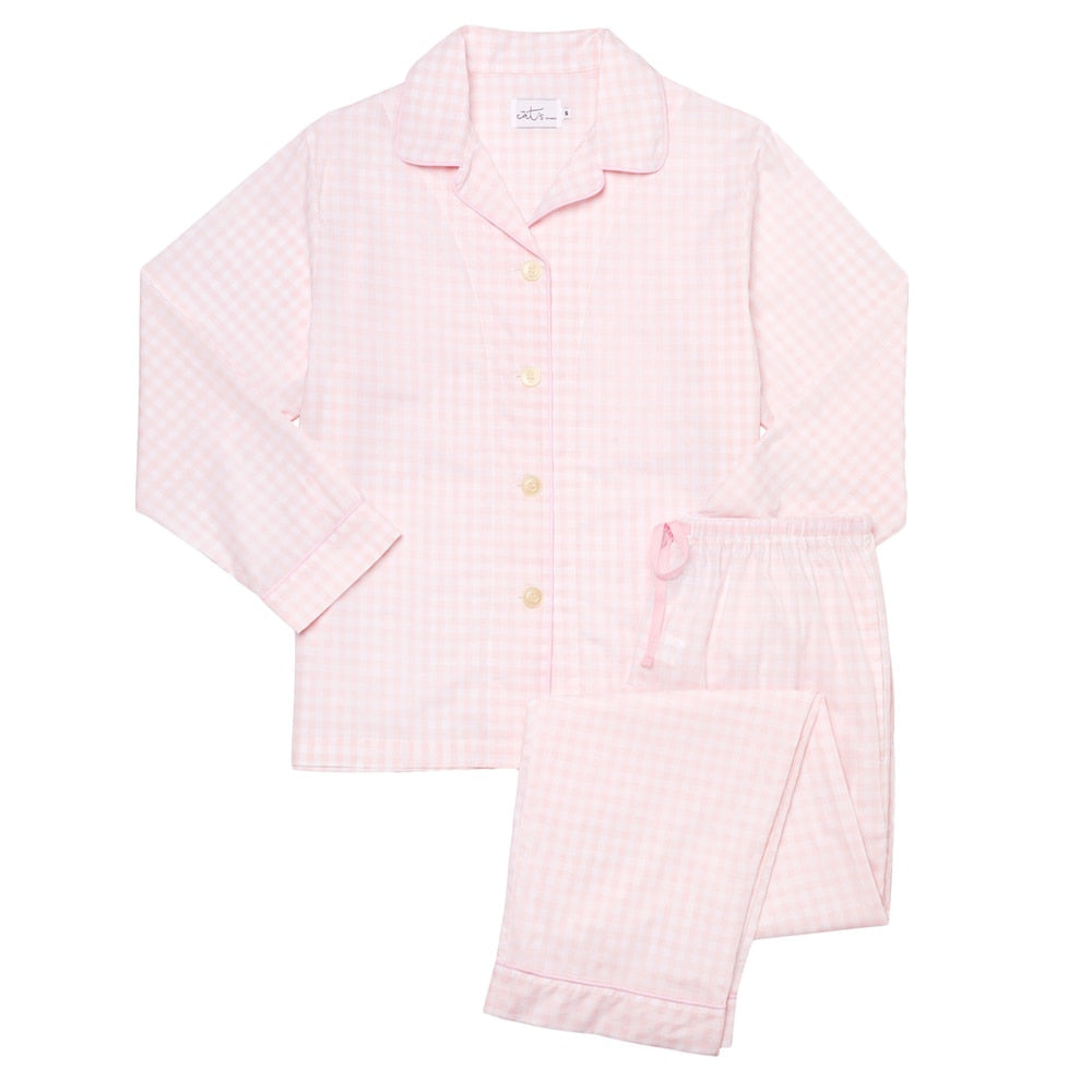 The Cat's Pajamas Pink Gingham Luxe Pima Cotton Pajama