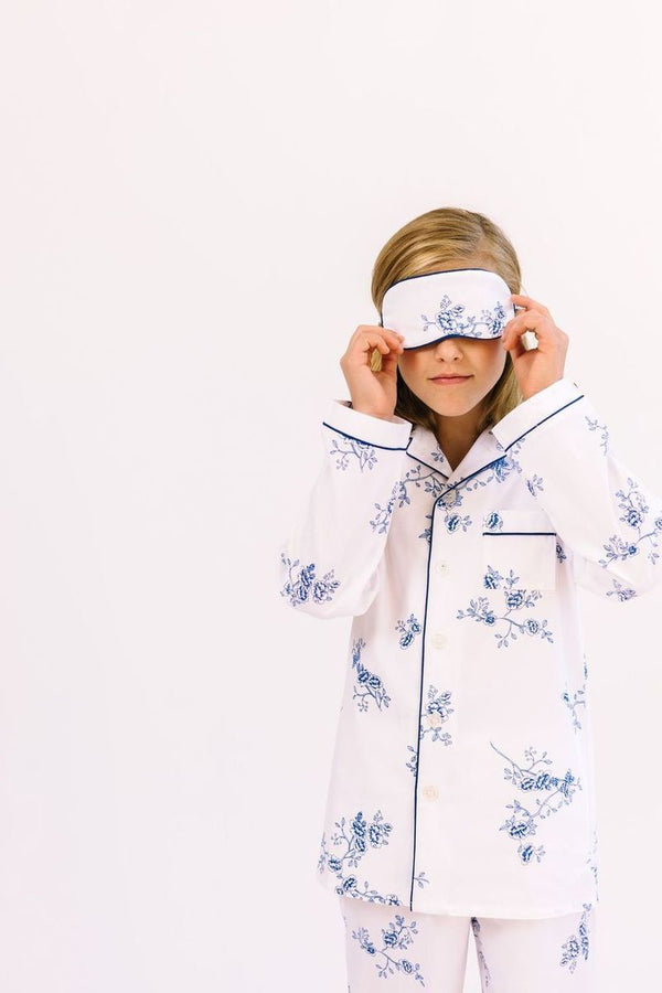 Petite Plume Traditional Eye Mask, Indigo Floral