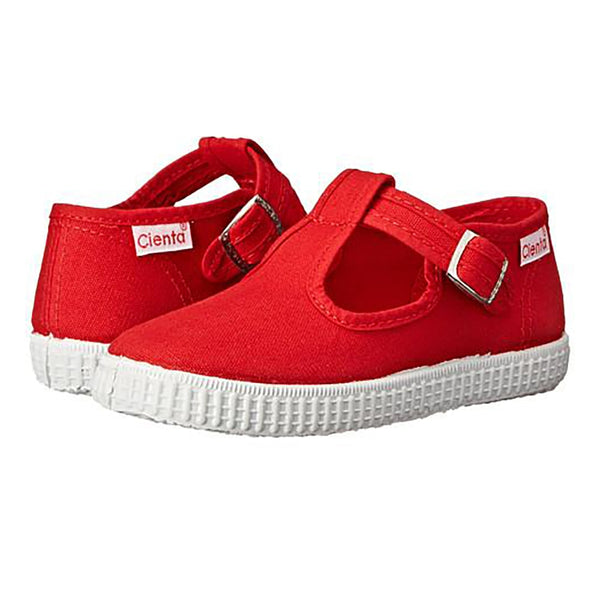 Cienta T Strap Shoe, Red