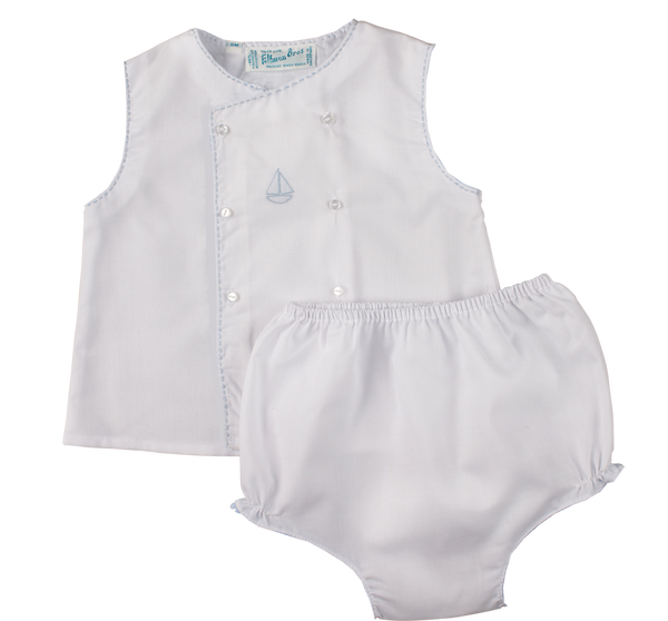 Feltman Brothers Boys Sailboat Diaper Set in White