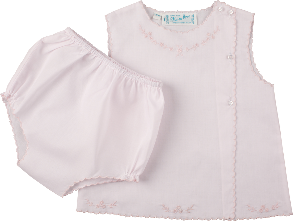 Feltman Brothers Girls Scalloped Diaper Set in Pink