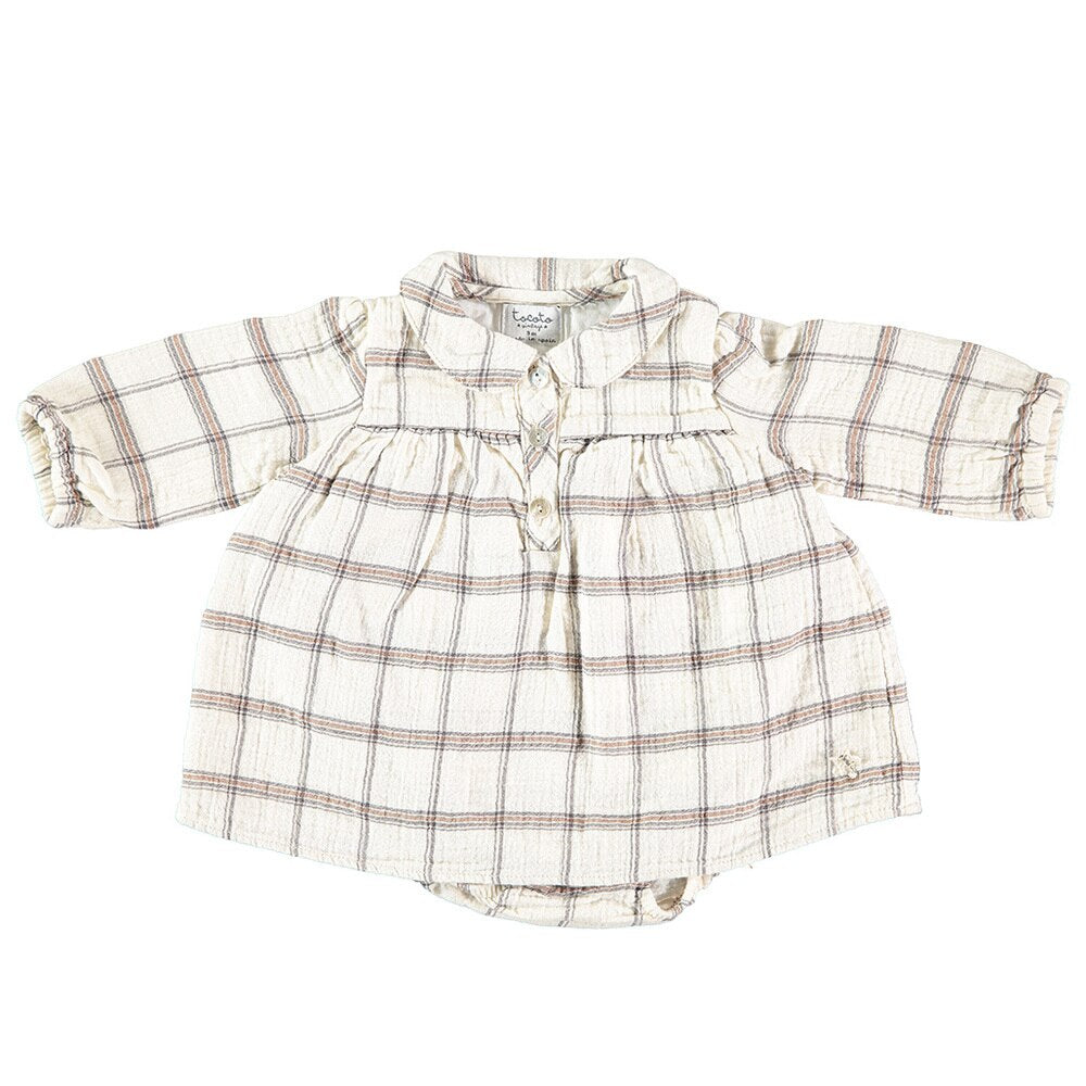 Tocoto Vintage Checkered Collar Dress