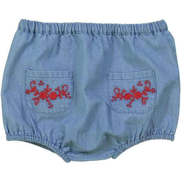 Louis Louise Yaya Baby Embroidered Bloomer, Chambray Blue