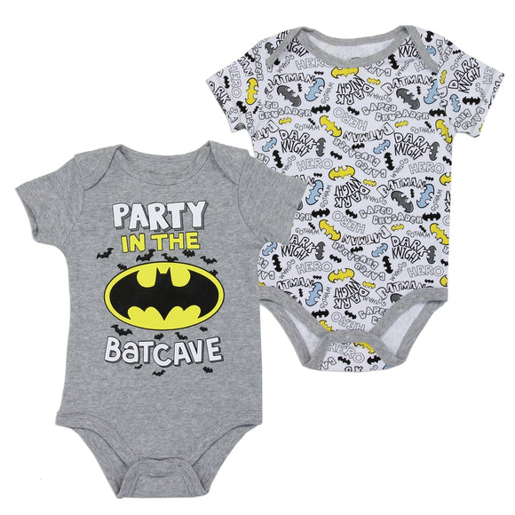 BATMAN Boys 0-9M Newborn 2-Pack Creeper Set