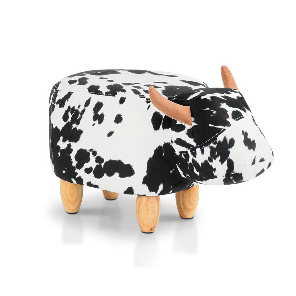 Keezi Kids Ottoman Foot Stool Toy Cow Chair Animal Foot Rest Fabric Seat White