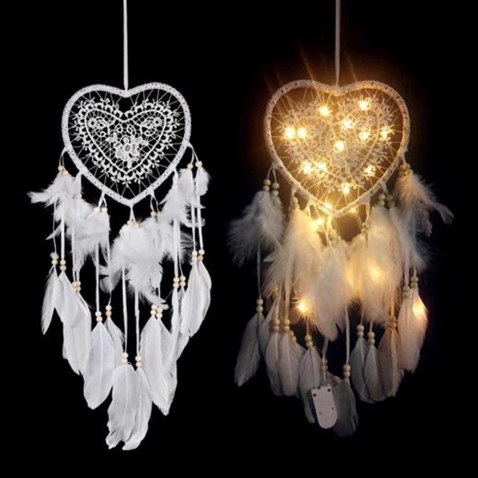 LED White Heart Dreamcatcher