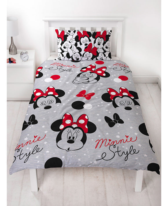 Minnie Mouse Cute Single Rotary Duvet Cover and Pillowcase Set