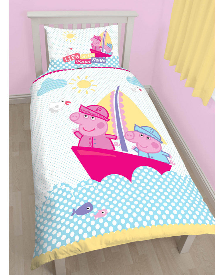 Peppa Pig Nautical Single Panel Duvet Cover & Pillowcase