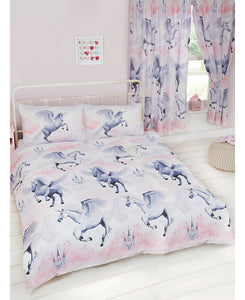Stardust Unicorn Double/Queen Duvet Cover and Pillowcase Set - Lilac and Pink