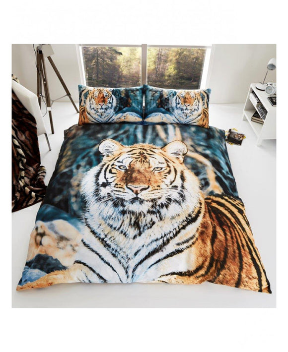 ***LIMITED STOCK*** Tiger King Size Duvet Cover And Pillowcases Set