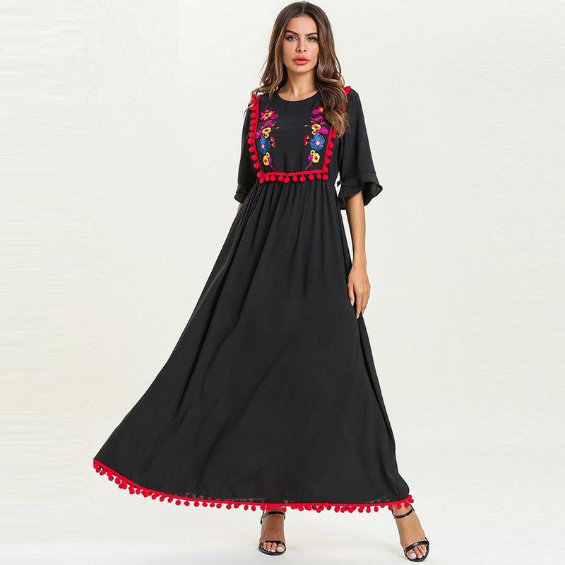 Embroidered red ball Maxi Dress
