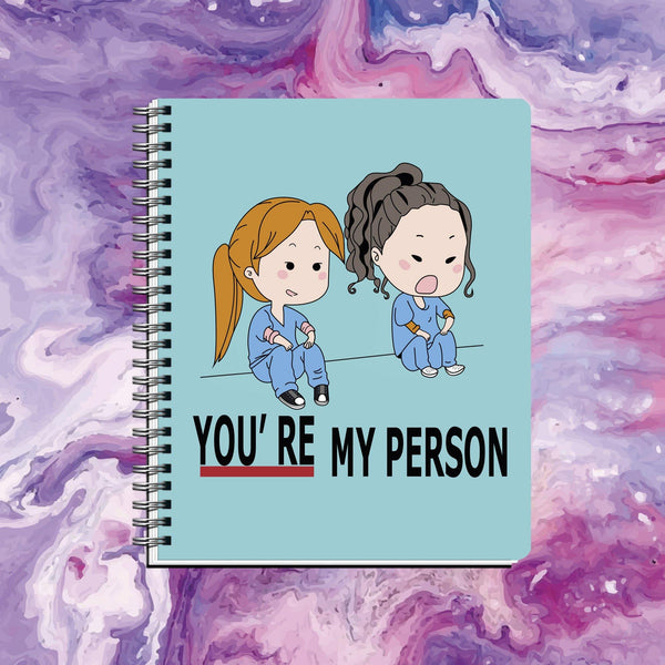 Cuaderno Greys Anatomy You're my Person Celeste - Space Store Chile