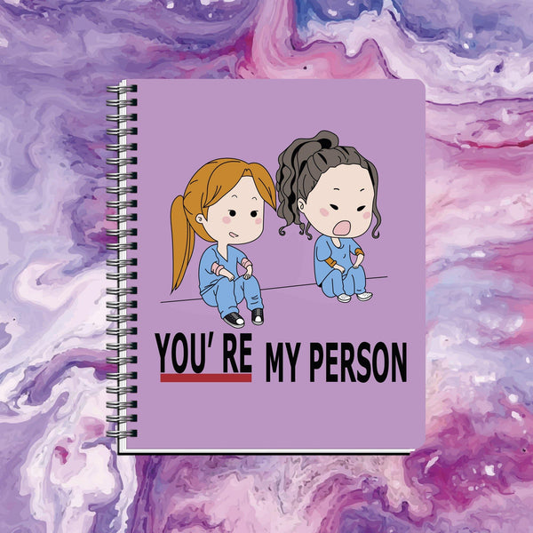 Cuaderno Greys Anatomy You're my Person Morado - Space Store Chile