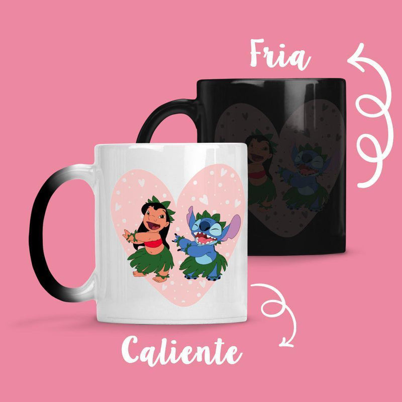 Taza Cambia Color Lilo y Stich Heart - Space Store Chile
