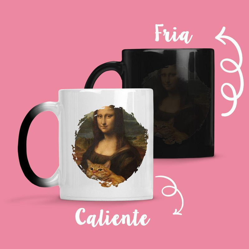 Taza Cambia Color Mona Lisa Cat - Space Store Chile