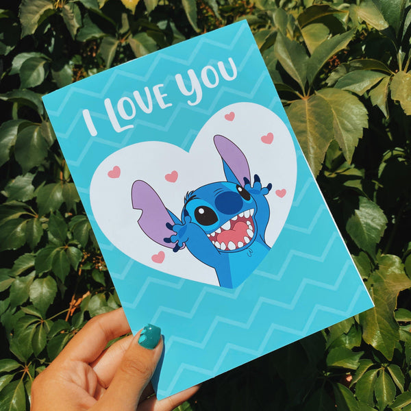 Tarjeta de amor Stitch I Love You Model 2