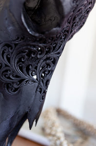 Carved Buffalo Lace Skull Black