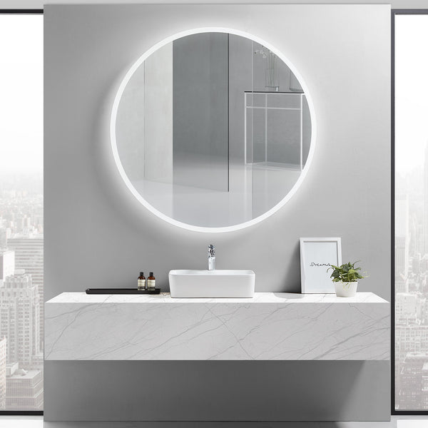 Luna Round Lighted Bathroom Vanity Mirror - Modern Mirrors