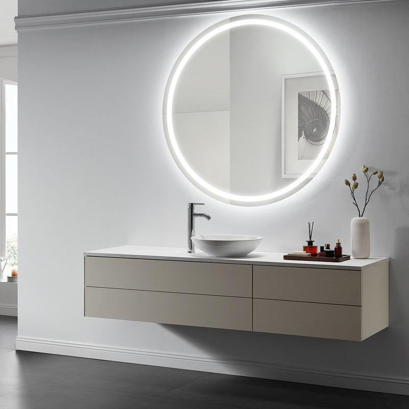 Corona Round Lighted Bathroom Vanity Mirror - Modern Mirrors