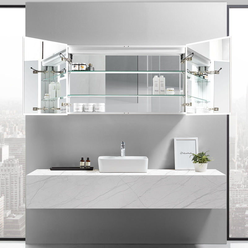 Cassini II Lighted Bathroom Cabinet Vanity Mirror - Modern Mirrors