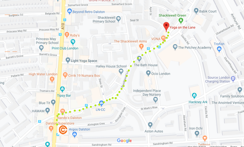map showing the easy walking route between Circle Collective and Yoga on the Lane