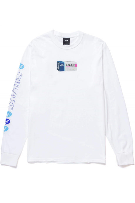 HUF Long Sleeve Tee Relax White - Circle Collective