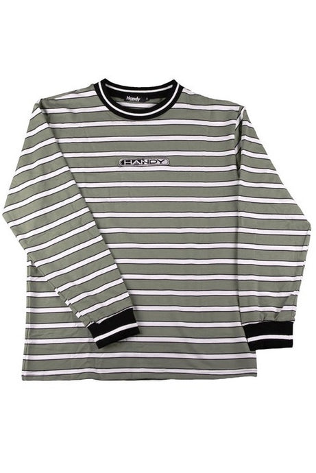 HANDY SUPPLY CO Long Sleeve Tee  Striped Striped Heavyweight Olive