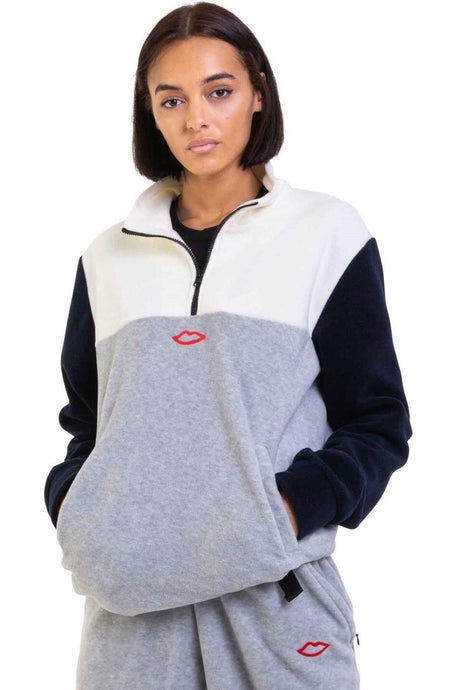 SEX SKATEBOARDS Jacket 3 Way Quarter Zip White/Navy/Grey