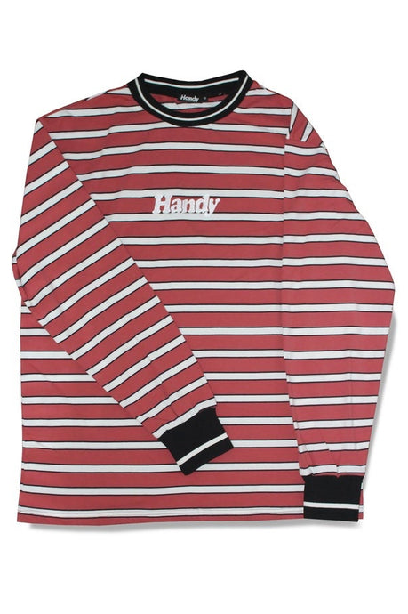 HANDY SUPPLY CO Long Sleeve Tee Striped Heavyweight Vintage Red/White