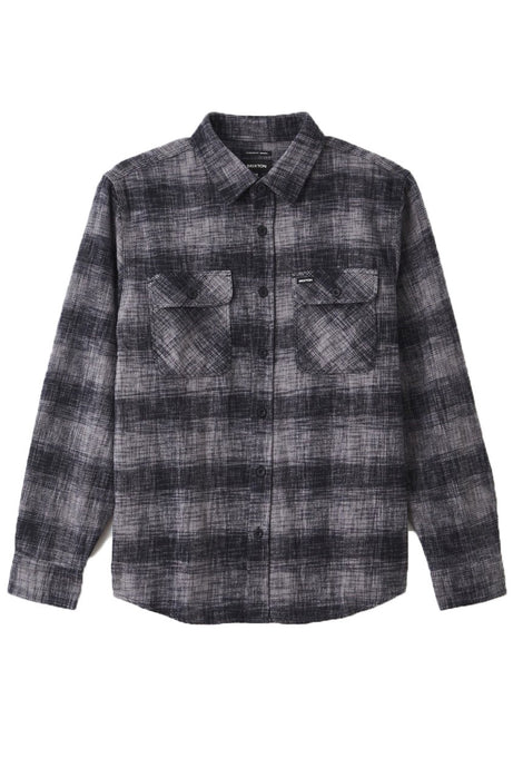 BRIXTON Shirt L/S Bowery Reserve Flannel Black/Grey Mix - Circle Collective